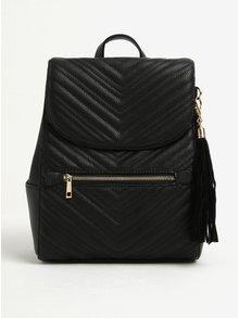 Čierny prešívaný batoh so strapcami Miss Selfridge
