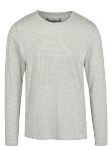 Světle šedé slim fit tričko s potiskem a dlouhým rukávem Jack & Jones Studio