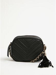 Černá malá prošívaná crossbody kabelka s třásní Miss Selfridge