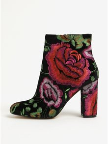 Botine negre cu toc din catifea si broderie florala -  Miss Selfridge Darcie