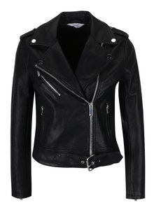 Čierna koženková bunda Miss Selfridge Petites