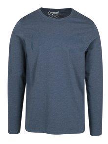 Modré slim fit tričko s potiskem a dlouhým rukávem Jack & Jones Studio