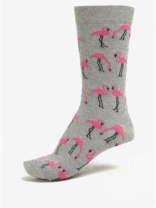 Šedé ponožky s motivem plameňáků ZOOT