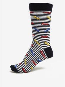 Tmavomodré pánske pruhované ponožky s motívom áut ZOOT