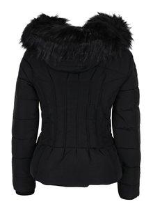 Čierna prešívaná bunda s kožušinkou Miss Selfridge Petites