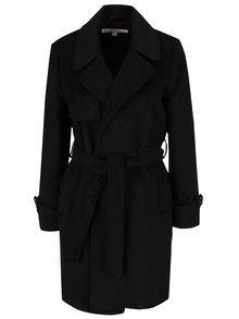 Čierny kabát so zaväzovaním v páse Miss Selfridge Petites