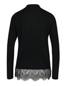 Čierny tenký sveter s čipkovým spodným lemom Jacqueline de Yong Victory