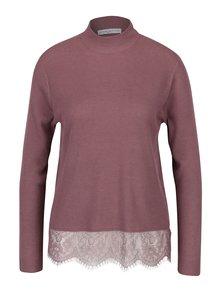 Fialový lehký svetr s krajkovým dolním lemem Jacqueline de Yong Victory