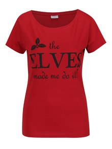 Tricou rosu cu print inscriptie Jacqueline de Yong Chicago