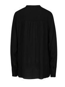 Bluza neagra asimetrica cu guler mao - Selected Femme Tora