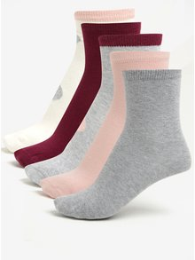 Súprava piatich párov dievčenských ponožiek v ružovej a sivej farbe name it Vilde