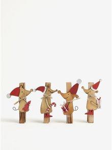 Sada čtyř dřevěných vánočních kolíčků ve tvaru myší Sass & Belle