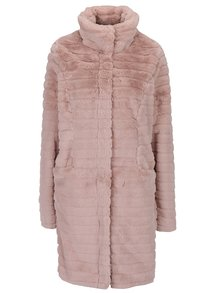 Světle růžový kabát s umělým kožíškem VILA Meria