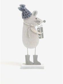 Světle šedá dřevěná dekorace ve tvaru myši Sass & Belle