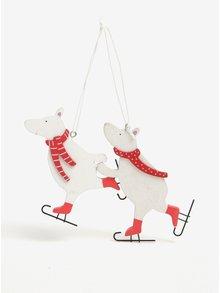 Sada dvou dřevěných přívěšků ve tvaru medvěda v krémové barvě Sass & Belle