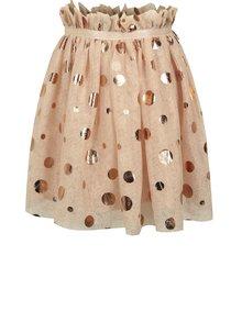 Svetloružová dievčenská tylová trblietavá bodkovaná sukňa name it Folly