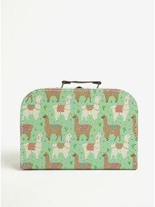 Súprava troch kufríkov v zelenej farbe s motívom lám Sass & Belle