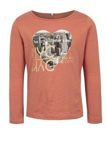 Staroružové dievčenské tričko s potlačou name it Ilse