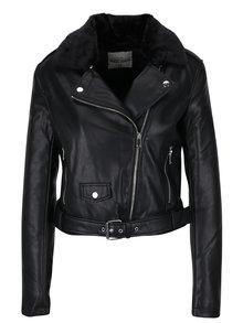Čierna koženková bunda s umelým kožúškom a potlačou na chrbte TALLY WEiJL