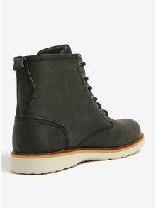 Tmavozelené pánske kožené členkové zimné topánky Bullboxer