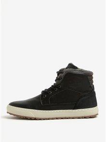 Sivo-čierne pánske kožené členkové zimné topánky Bullboxer