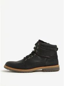 Čierne pánske kožené členkové zimné topánky na zips Bullboxer