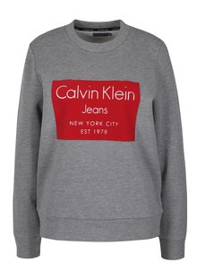 Červeno-šedá dámská mikina Calvin Klein Jeans Hansi
