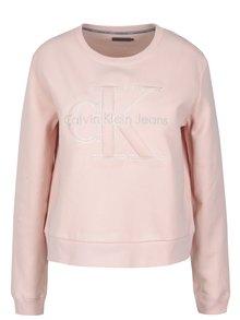 Světle růžová dámská mikina s výšivkou Calvin Klein Jeans Harper