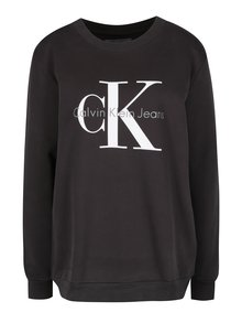 Tmavosivá dámska mikina s potlačou Calvin Klein Jeans Crew