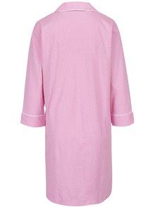 Camasa de noapte roz cu revere, logo brodat si buline albe -  Lauren Ralph Lauren Heritage