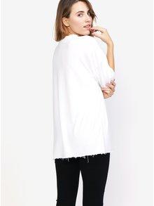 Tricou alb oversize cu terminatie nefinisata - MISSGUIDED