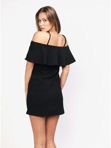 Čierne šaty s odhalenými ramenami na ramienka MISSGUIDED
