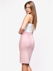 Světle růžová sukně v semišové úpravě MISSGUIDED