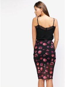 Černá květovaná pouzdrová sukně MISSGUIDED