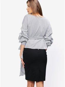 Bluza cu dungi alb & negru si maneci balon - MISSGUIDED