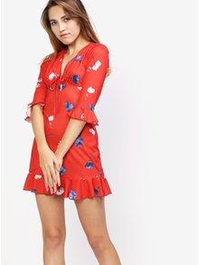 Červené kvetinové šaty s volánom MISSGUIDED