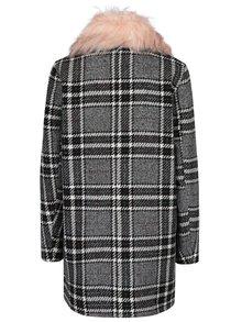 Čierno-biely vzorovaný kabát s umelou kožušinou ONLY Dory