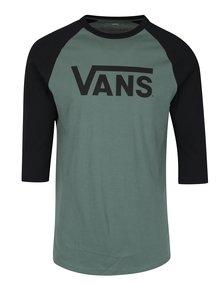 Čierno-zelené pánske custom fit tričko s potlačou VANS Classic