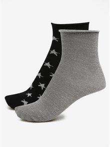 Set de 2 perechi de sosete negru cu stele si gri cu fir argintiu ONLY Disla