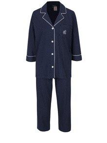Tmavomodré bodkované pyžamo Lauren Ralph Lauren Heritage