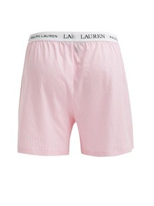 Boxeri clasici din bumbac cu logo si dungi roz & alb - Lauren Ralph Lauren Soft Jersey