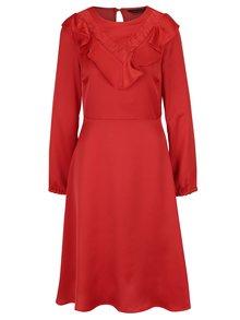 Červené šaty s volánky a dlouhým rukávem Dorothy Perkins