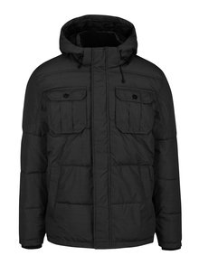 Čierna prešívaná zimná bunda s kapucňou Jack & Jones Will