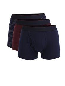 Sada tří vzorovaných boxerek ve vínové a modré barvě Burton Menswear London