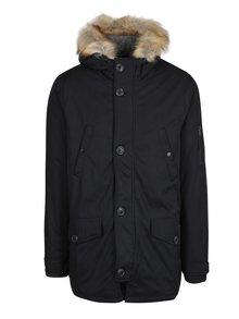 Čierna zimná bunda s umelým kožúškom Burton Menswear London