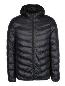 Čierna prešívaná bunda s kapucňou Burton Menswear London