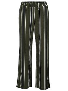 Tmavě zelené pruhované kalhoty VILA Sesilla