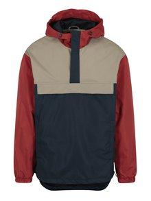 Červeno-modrá tenká bunda s kapucňou Jack & Jones Anton