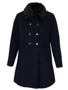 Tmavomodrý kabát s umelou kožušinou Dorothy Perkins Curve
