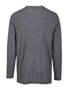 Čierne melírované tričko s gombíkmi Jack & Jones Giovanni
